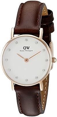 Daniel Wellington 0903DW - Reloj analógico de cuarzo para mujer con correa de piel, color marrón oscuro