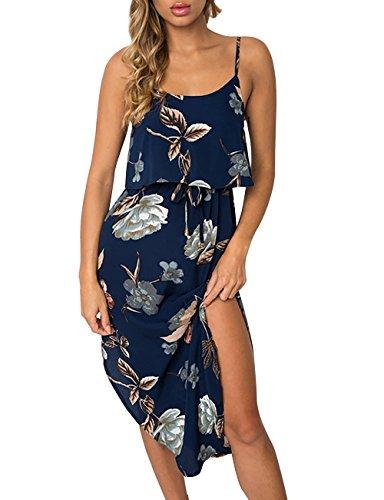 Yieune Sommerkleid Damen Strandkleid Ärmellos Cocktail Kleid Blumenmuster Trägerkleid Knielang...