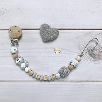 Nuckelkette mit Namen grau Holz Silikon Häkelperle beige Junge Mädchen