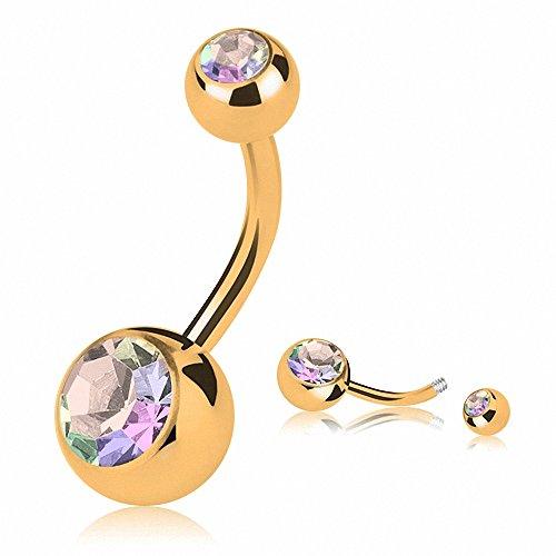Piercingfaktor Bauchnabelpiercing Banane Piercing Bauch Stecker Gebogen mit Gold plattiert Doppel Kristall Rainbow 5mm x 8mm