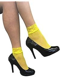Sock Snob - 2 paires de chaussettes femmes résille chaussettes avec de la dentelle - 37-42 (Fishnet Ankle Socks)