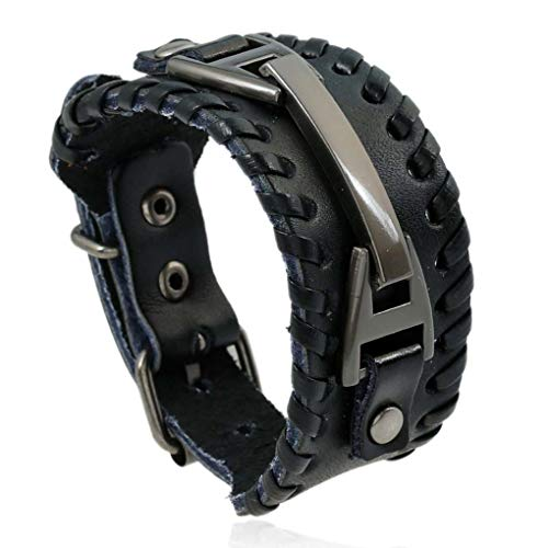 YHLU Herren Armband Lederarmband, mit verstellbarem Vintage-Armreif, Unisex 9,4 Zoll,Black