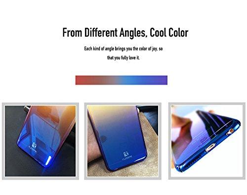 iPhone 7 Hülle, FLOVEME Gradient Transparent Farbe Ultradünnen Schutzhülle Slim Fit PC Handytasche für Apple iPhone 7 - Blau Lila