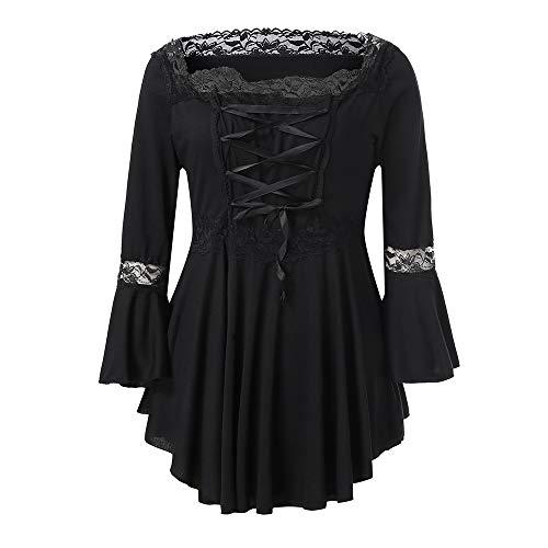 Fanxing Damen Tops Gothic - Steampunk - Schlaghose Zum T-Shirt mit Ausgestelltem Ausschnitt (Free, Schwarz)