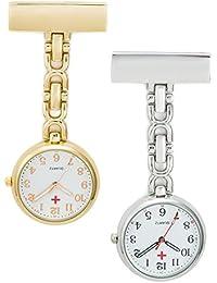 SEWOR Unisex Personal médico colgante reloj de bolsillo dorado y plateado Juego de con marca de piel caja de regalo