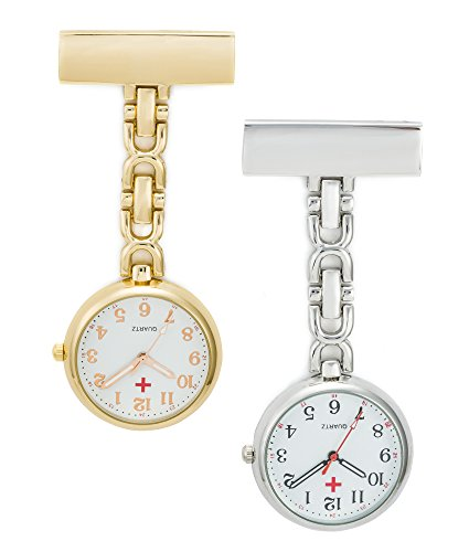SEWOR Nurses & Doctor Luminous Hanging Pocket Watch 2pcs with Deep Blue Brand Leather Box Great Gift (Gold & Silver)