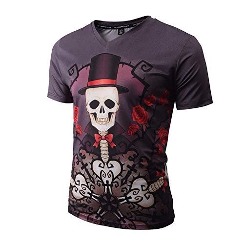 3D-Pullover 2018 Neue Kurzarm Männer V-Ausschnitt Digital Schädel Dämon 3D Druck T-Shirt Tops Halloween XXXL Kurzarm V009#