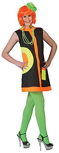 Mod Jahre 60er Kleid Kostüm - Hippie Kostüm Mod Dress Neon für Damen - Tolles Kleid im 60er Jahre Stil für Cat Walk Mottoparty - Gr. 32 34