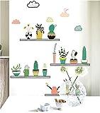 YSFU Wandsticker Grünpflanze Kaktus Topfblume Pflanze Wandaufkleber Dekoration Hauptdekoration Küchenfenster Wohnzimmer Dekoration Aufkleber