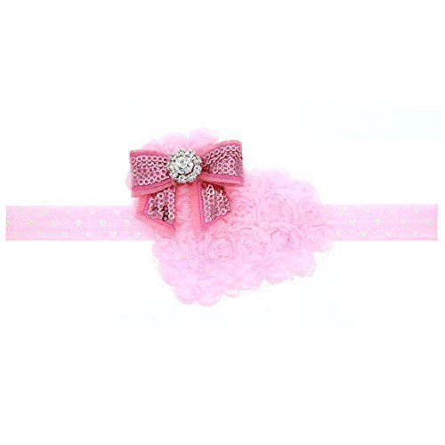 Floral Fall Baby Girls Valentines Day Gift Rhinestone Headbands Pink Hair Band BY-04 (Pink)