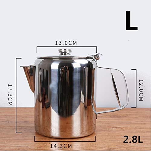 ExcLent S/M/L Silver Stainless Steel Catering Cafe Teapot Spout Design Milk Tea Coffee Water Boiling Kettle With Cover - groß