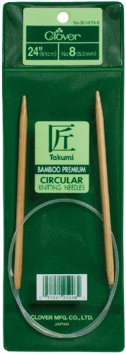 Clover Takumi Stricknadeln Bambus Rundstricknadeln 24-inchsize 8/5, andere, Mehrfarbig - Clover-stricknadeln Takumi