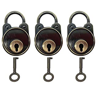 Retro Old English Ornamental Vintage Antique Style Mini Padlocks Lock with Keys for Gym, School, Employee Locker, Fence, Hasp and Outdoor Storage (Smooth Bear-3pcs)