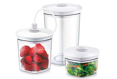 CASO Behälter-Set für Vakuumierer, 3 Vakuumbehälter für druckempfindliche und flüssige Lebensmittel, passend für alle CASO Vakuumierer -
