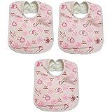 Manan Shopee Waterproof Baby Bib/Soft Baby Bib/Skin Friendly Bib (Color & Print Ship As Per Stock Available- Color & Print May Vary) (Soft Bib Pack Of 3 Pink)