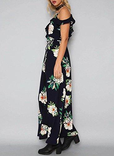 Azbro Women's Elegant Halter Neck Floral Print Maxi Dress Navy-3