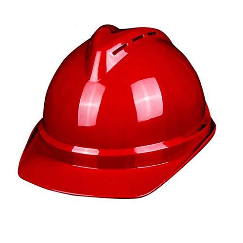 BYAQM Casco Traspirante ABS Rosso, Casco di Sicurezza per La Sicurezza del Lavoro