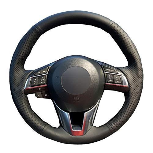 ZYTB DIY Schwarze weiche Auto-Lenkrad-Abdeckung für Mazda Cx-5 Cx5 Atenza 2014 Neuer Mazda 3 Cx-3 2016 Scion Ia 2016,Red Thread (Mazda 3 Lenkrad Abdeckung)