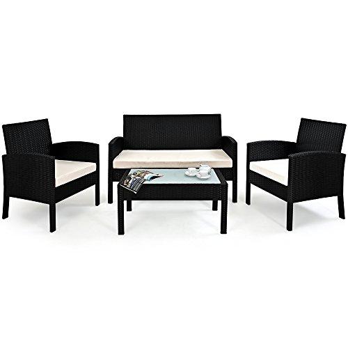 Deuba Poly Rattan Lounge Sitzgruppe 7 TLG Alu Gestell Auflagen 7cm dick + Tisch Schwarz Balkonset Gartenmöbel Balkon Set