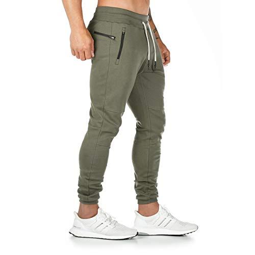 CakCton Herren Jogginghose Sporthose Baumwolle Fitness Slim Fit Hose Freizeithose Joggers Streetwear (Grün, X-Large)