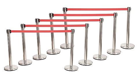 Stagecaptain PLS-200S Barricade Crowd Direction System -Silver 10-Piece SET