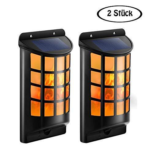 LED Solar Wandleuchten Halbrund Gitter Wasserdicht Flickering Flame Lights Wandlampe für Außen Garten Höfen Auffahrten Treppen Zaun mit dunklen Sensor Automatisch EIN/AUS (2 Stück) -