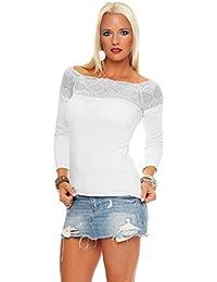 Mississhop Damen Spitzenshirt Spitze Spitzen T-Shirt Bluse Shirt  Langarmshirt Kurzarmshirt 453563460d