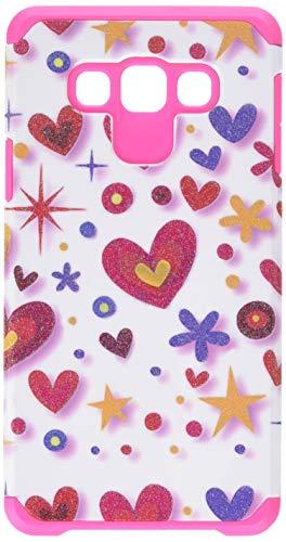 Asmyna Samsung A700Galaxy A7Advanced Armor Displayschutzfolie Cover-Retail Verpackung-Herz Graffiti/weiß/Hot Pink A700 Cell Phone