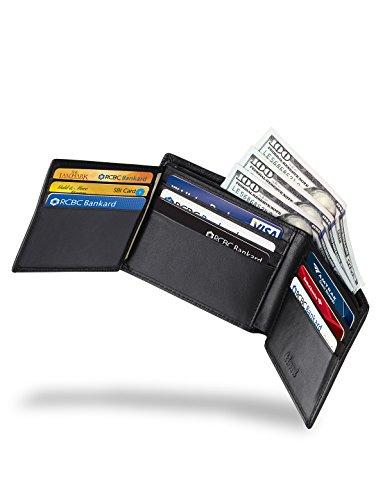 Kinzd® Herren dünne Leder Geldtasche Geldbörse mit 10 Kreditkartenfächer RFID Blocking Wallet Bifold Trifold Hybrid (Schwarz) Schwarz