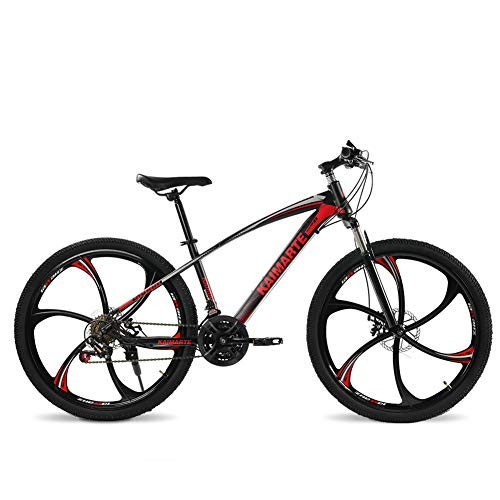 FJW Unisexo Bicicleta de montaña Hardtail Estructura de Acero con Alto Contenido de Carbono 26 Pulgadas Bicicleta MTB 21/24/27 Velocidades con Frenos de Disco y Horquilla de suspensión,Red,24Speed