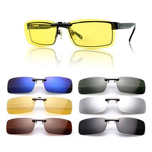 Ansteckbare Sonnenbrille mit polarisierten Linsen von Cosprof UV400, blendfreie Brille zum Fahren, Angeln, für Freiluftaktivitäten, Brille für Tag und Nacht, für Damen und Herren, gelb, Large