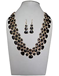 Trendeela.com Zoe Stylish Necklace Set With Gold Tone & Black Work
