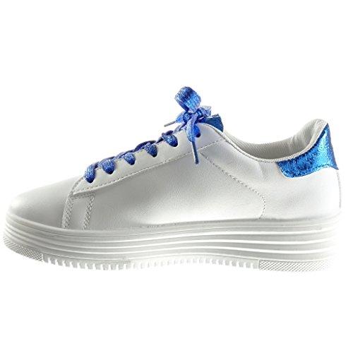 Angkorly Damen Schuhe Sneaker - Tennis - Plateauschuhe - Low - Schlangenhaut - Glitzer - Glänzende Keilabsatz High Heel 3.5 cm Blau