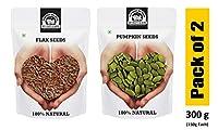 Wonderland Raw Flax Seeds and Pumpkin Seeds 300g Combo Pack (Pack of 2) (150g Each)