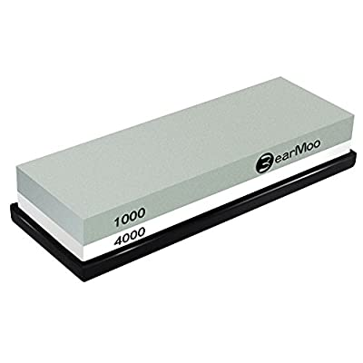 Whetstone, BearMoo Sharpening Stone 1000/4000 Grit Combination Waterstone Knife Sharpener- Rubber Stone Holder Included