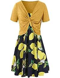 3800abeca97094 KiyomiQvQ Damen Kleider Patchwork Blumedruck Kleid Slim Elegant Ballkleid  Mode Schön Maxikleider Kurzarm Casual Cocktailkleid Lady