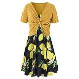 TUDUZ Zweiteiler Damen Elegant Set Sommerkleider Strap Ärmellos Blumendruck Swing Strandkleid Festliches Kostüm Regenbogen Drucken Kleid(Small,D-Gelb)
