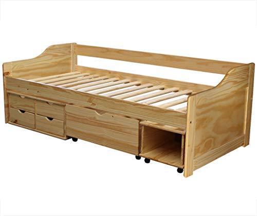 KMH®, Kojenbett/Kinderbett/Jugendbett mit Bettkasten, Schubladen und Nachttisch (200 x 90 cm/incl. Lattenrost/Natur) (#201104)
