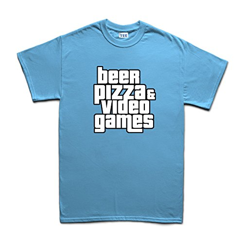 Beer Pizza And Video Games Funny Gaming T-shirt Hellblau