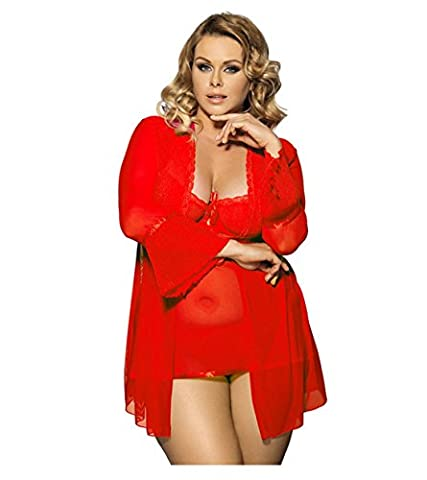 DZW Madam Fun Underwear 3 pieces Set Lace Midnight Chat up , red , xxxl