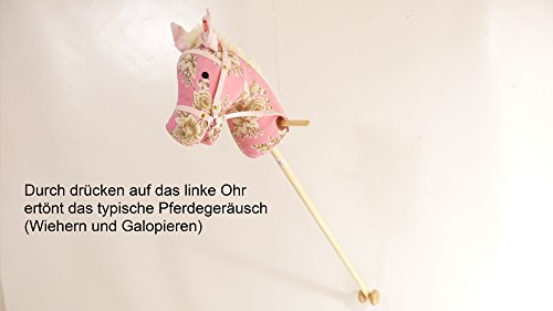 Rosa Steckenpferd Slh 2113 - Stabpferd - Holz-Kinderpferd - Wiehergeräusch -