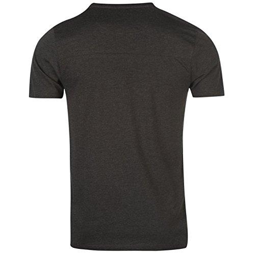 Firetrap Herren Grafik T Shirt Kurzarm Rundhals Print Motiv Freizeit Charcoal Meliert