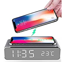 LED Smart Alarm Clock Time Temperature Display Wireless Charger Charging Pad Dock, Qi-Certified for iPhone 11, 11 Pro Max, XR, Xs Max, XS, X, Galaxy S10,S9 All Qi Charging Enabled Devices(Silver)