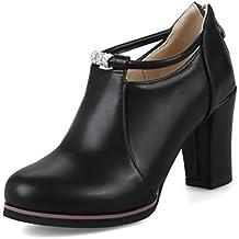 9367b3c45bed5d Easemax Damen Schick Low Ankle High Heels Blockabsatz Stiefel Pumps