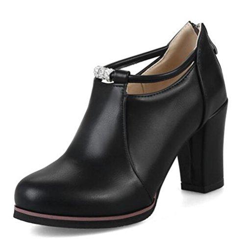 Easemax Damen Schick Low Ankle High Heels Blockabsatz Stiefel Pumps Schwarz 47 EU