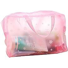 wdoit 1pcs multifuncional bolsa de viaje para maquillaje para plastificar Insertar Organizador Cosméticos Bolso Doble Cremallera Negro