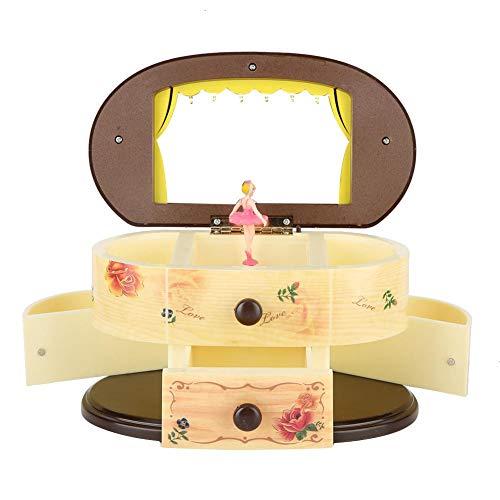 Simlug Bailarina Bailarina Caja de música Caja de Almacenamiento con Espejo para niñas Regalo romántico para cumpleaños y el día de San Valentín(Rosado)