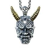 XJYA 925 Silber Halskette Für Männer Und Frauen Halskette Kette Winkel Prajna Anhänger Einstellbare Ketten Mit 60Cm Silberkette Und Rindslederkette