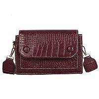 Women Vintage Crocodile Pattern Bag Wild Leather Shoulder Bag Messenger Bag Tote Bag (Wine)