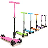 3Style Scooters® RGS-2 Kids Pink Three Wheel Kick Scooter - Perfect For Children Aged +5 - Featuring LED Light-Up Wheels, Foldable Design, Adjustable Handles & Lightweight Construction